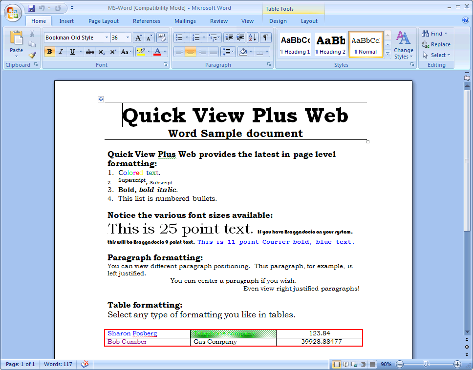 Screenshot: Sample Document Viewed in Native Program