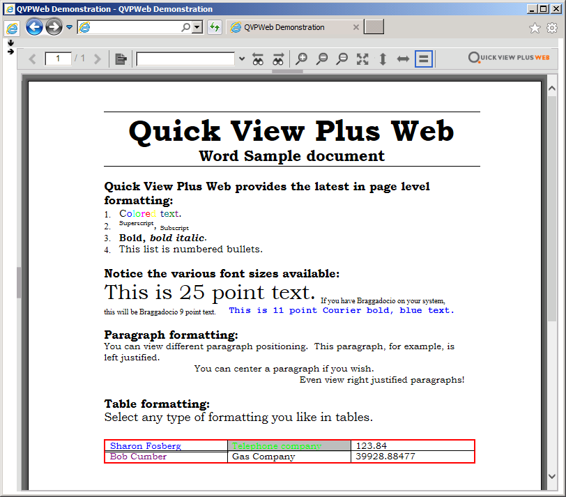 Screenshot: Same Sample Document Viewed in Quick View Plus